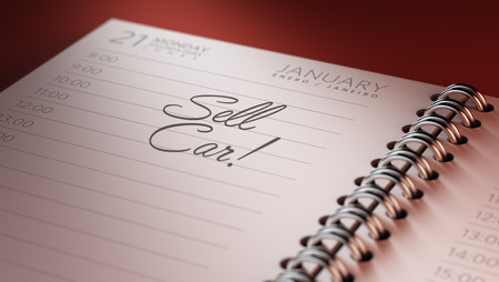 sell car: Closeup of a personal calendar setting an important date representing a time schedule. The words Sell Car written on a white notebook to remind you an important appointment.