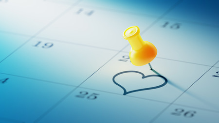 yellow push pin: Concept image of a Calendar with a yellow push pin. Closeup shot of a thumbtack attached. The words heart shape written on a white notebook to remind you an important appointment. Stock Photo
