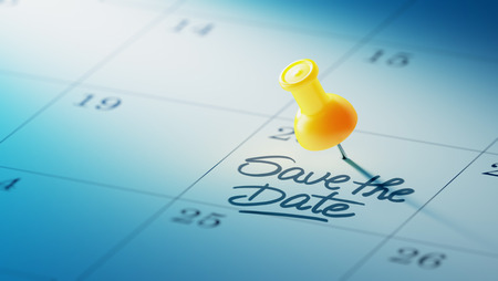 yellow push pin: Concept image of a Calendar with a yellow push pin. Closeup shot of a thumbtack attached. The words Save the date written on a white notebook to remind you an important appointment.