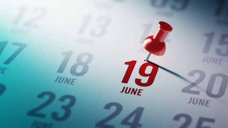 19: June 19 written on a calendar to remind you an important appointment. Stock Photo