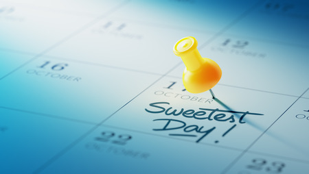 sweetest: Concept image of a Calendar with a yellow push pin. Closeup shot of a thumbtack attached. The words Sweetest Day written on a white notebook to remind you an important appointment.
