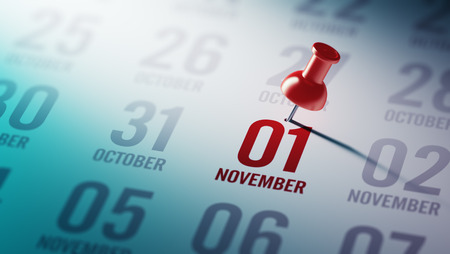 01: November 01 written on a calendar to remind you an important appointment. Stock Photo