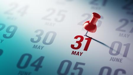 31 mei geschreven op een kalender om u te herinneren aan een belangrijke afspraak.