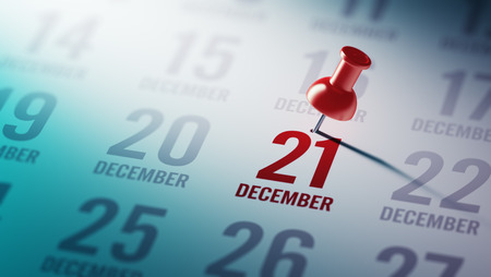 december 21: December 21 written on a calendar to remind you an important appointment.