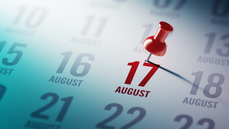 17: August 17 written on a calendar to remind you an important appointment. Stock Photo