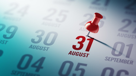 31: August 31 written on a calendar to remind you an important appointment. Stock Photo