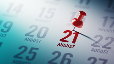 21: August 21 written on a calendar to remind you an important appointment. Stock Photo