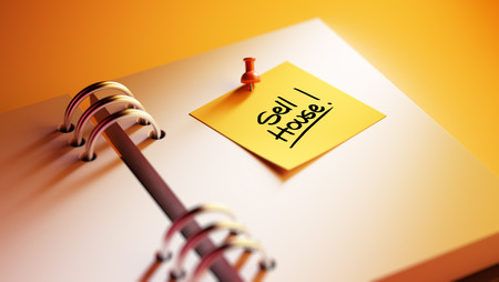 sell house: Closeup Yellow Sticky Note paste it in a notebook setting an appointment. The words Sell House written on a white notebook to remind you an important appointment.