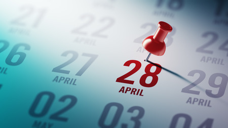 28: April 28 written on a calendar to remind you an important appointment. Stock Photo