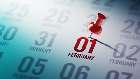 01: February 01 written on a calendar to remind you an important appointment.