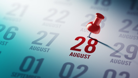28: August 28 written on a calendar to remind you an important appointment.