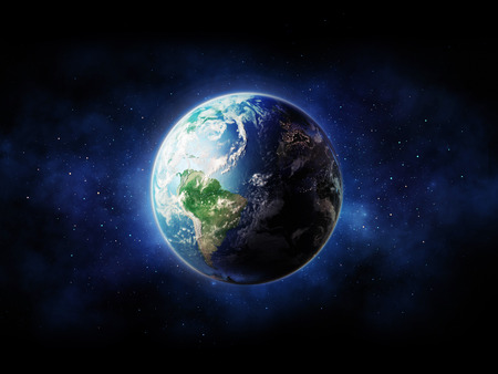 Alta Resolución vista Planeta Tierra. El globo del mundo desde el espacio en un campo de estrellas que muestra el terreno y las nubes.