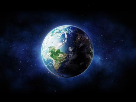 Haute Résolution vue Planète Terre. Le Globe mondiale de l'espace dans un champ d'étoiles montrant le terrain et les nuages.