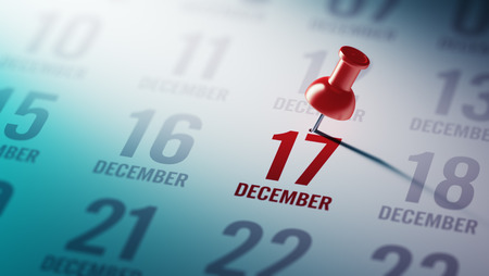 17: December 17 written on a calendar to remind you an important appointment.