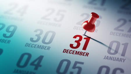 31: December 31 written on a calendar to remind you an important appointment. Stock Photo