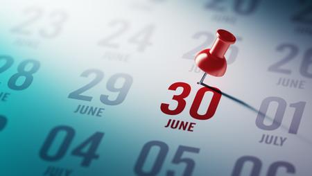 30 juni geschreven op een kalender om u te herinneren van een belangrijke afspraak.
