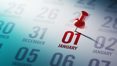 01: January 01 written on a calendar to remind you an important appointment. Stock Photo