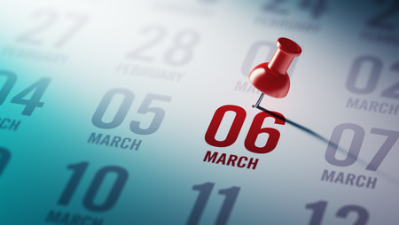 calendar date: March 06 written on a calendar to remind you an important appointment. Stock Photo