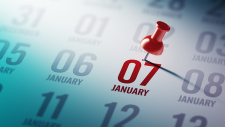 calendar date: January 07 written on a calendar to remind you an important appointment.