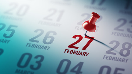 February 27 written on a calendar to remind you an important appointment. Stock Photo