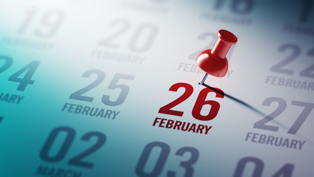 26: February 26 written on a calendar to remind you an important appointment. Stock Photo