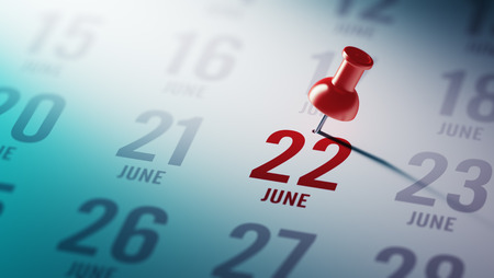 June 22 written on a calendar to remind you an important appointment. Stock Photo