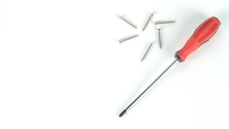 red screwdriver and nuts on white background