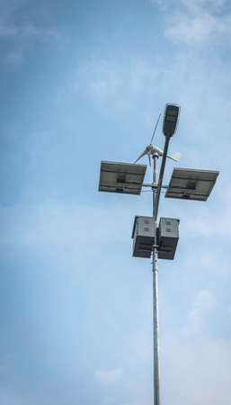 it is a solar system lighting pole which installed for lighting on the road use for sustainable concept, clean energy, renewable power.