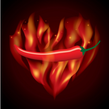 red hot chilli in fire heart shape Illustration