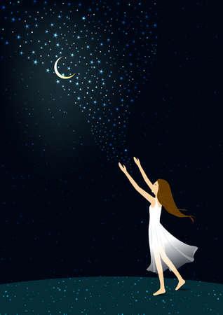 Women reach the sky Illustration
