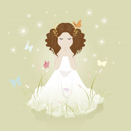 cute little girl on a green lawn with  flowering grass Vector