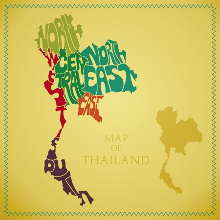 Map of Thailand with the Sector colored in  Vector