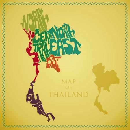 thai: Mappa della Thailandia con il Settore colorato in Vettoriali