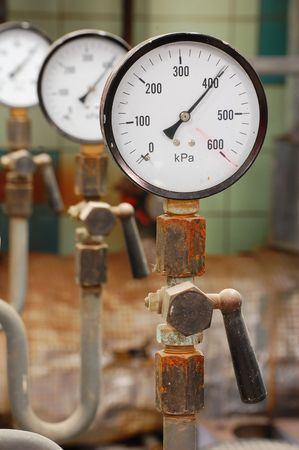 Manometers pressure gas line with valve Stock Photo - 5116057