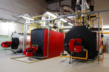 Gas boilers in gas boiler room for steam production Stock Photo - 5116063
