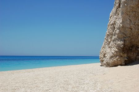 Beautiful beach with the rock, beach Egremni Lefkada, Greece Stock Photo - 5195712