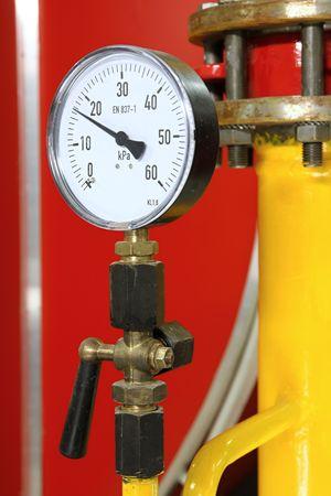 Manometer pressure gas line with valve Stock Photo - 5826326