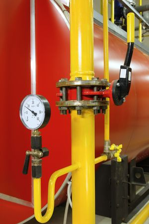 Manometer pressure gas line with valve Stock Photo - 5826330