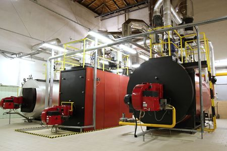 Gas boilers in gas boiler room for steam production 版權商用圖片 - 5826336
