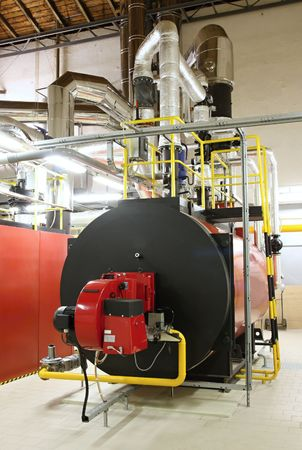 Gas boilers in gas boiler room for steam production Stock Photo - 5826337