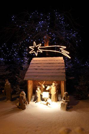 pesebre: Escena de la Natividad Foto de archivo