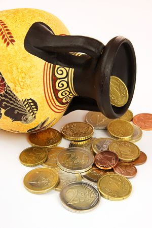 Amphora with coins Stock Photo - 6366653
