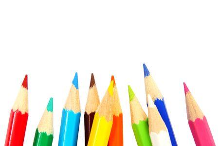 color�: Crayons color�s isol�s sur fond blanc