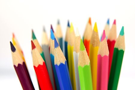 Colourful pencils isolated on white background Stock Photo