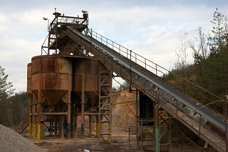 Belt conveyors in a gravel pit photo