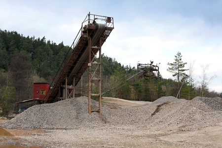 Belt conveyors in a gravel pit