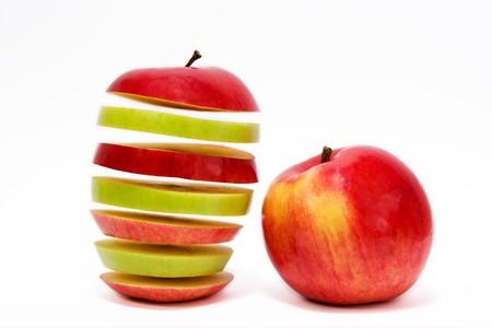 Flying apple on white background photo