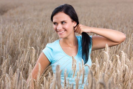 Beautiful young models in natural environment.  Stock Photo - 7765650