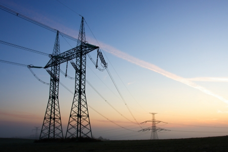 a generation: Electricity pylons Stock Photo