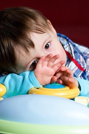 sad face: Baby taken close up with sad face